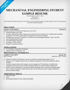 mechanical engineering resumes mechanical engineering student sample resume
