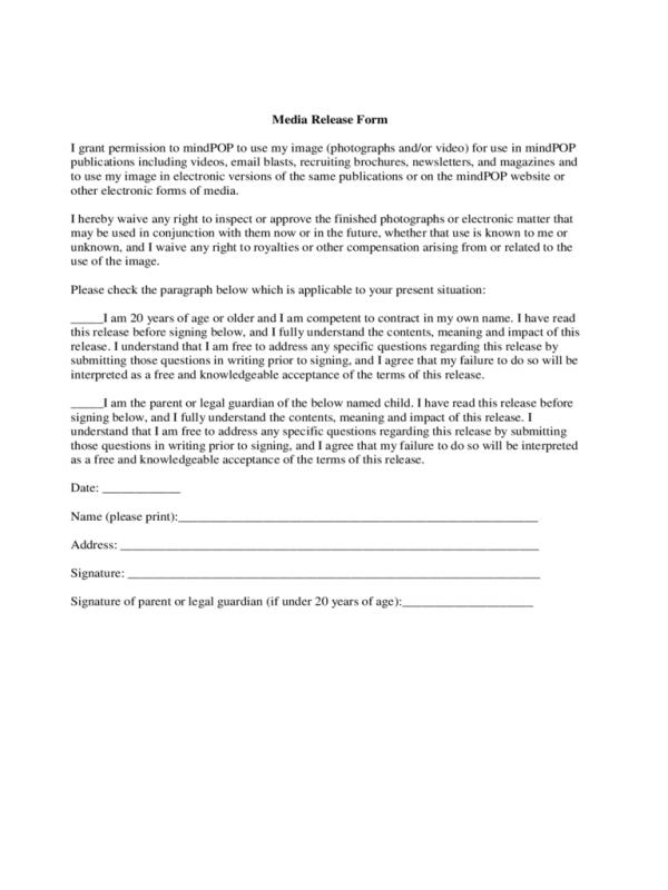 Media release form template business for Standard model release form template