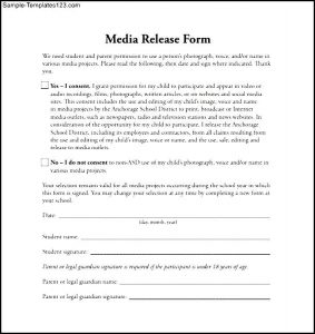 media release form media release form template