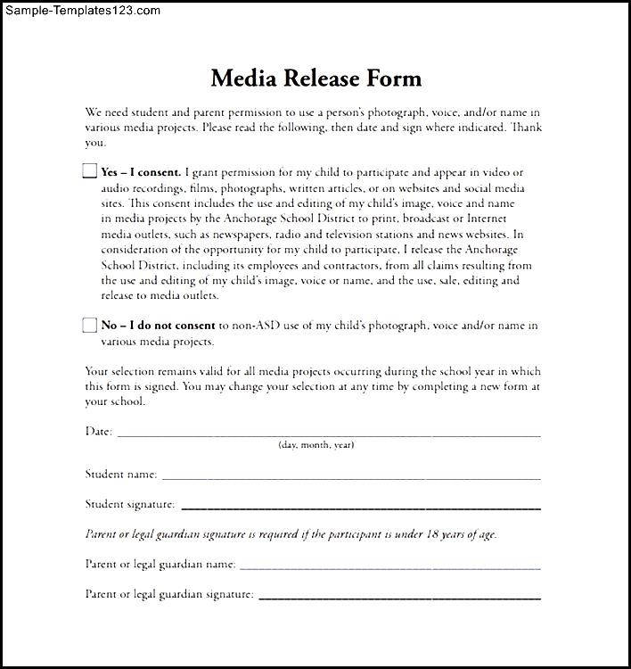 Legal release form template for Photography permission form template