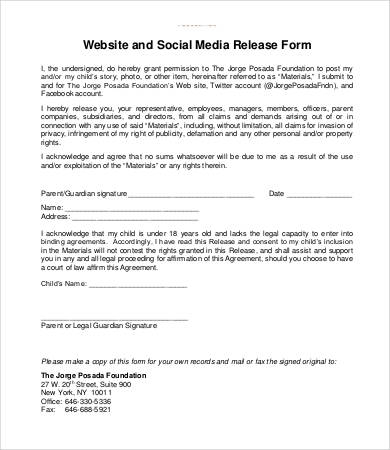 Media release form template business for Photography waiver and release form template