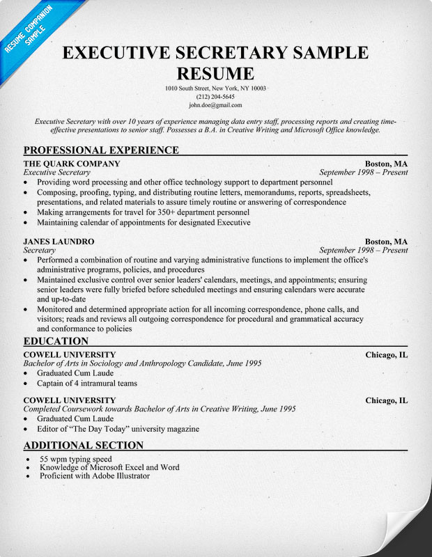 secretary resume template assistant resume example template business 24785
