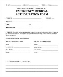 medical authorization form emergency medical authorization form