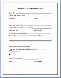 medical authorization form medical authorization