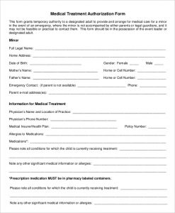 medical authorization form medical treatment authorization form