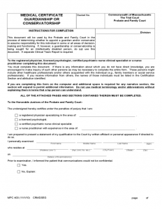 medical certificate forms medical certificate guardianship or conservatorship form l