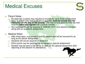 medical excuse notes back to school pe