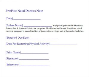 medical excuse notes post natal doctors note