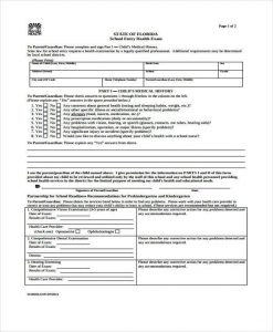 medical form templates child school medical form