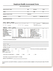 medical form templates employee health assessment form