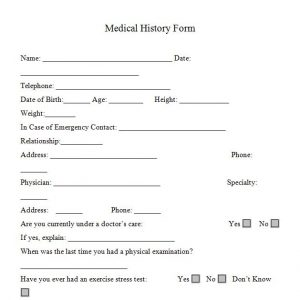 medical form templates medical history form