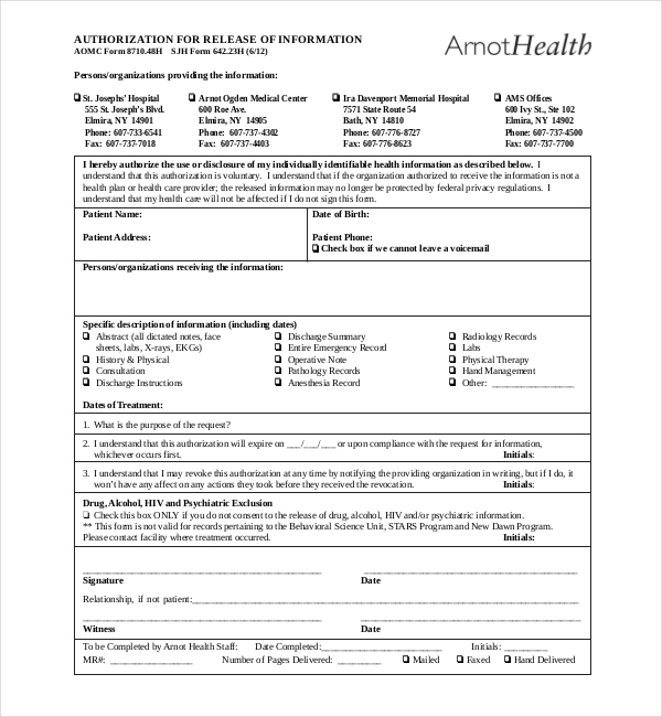 Medical Record Release Form  Medical Record Form Template