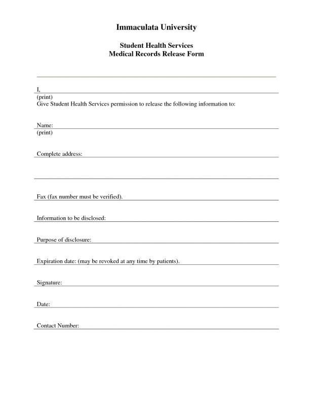 medical records release form template business - Sample Medical Records Release Form
