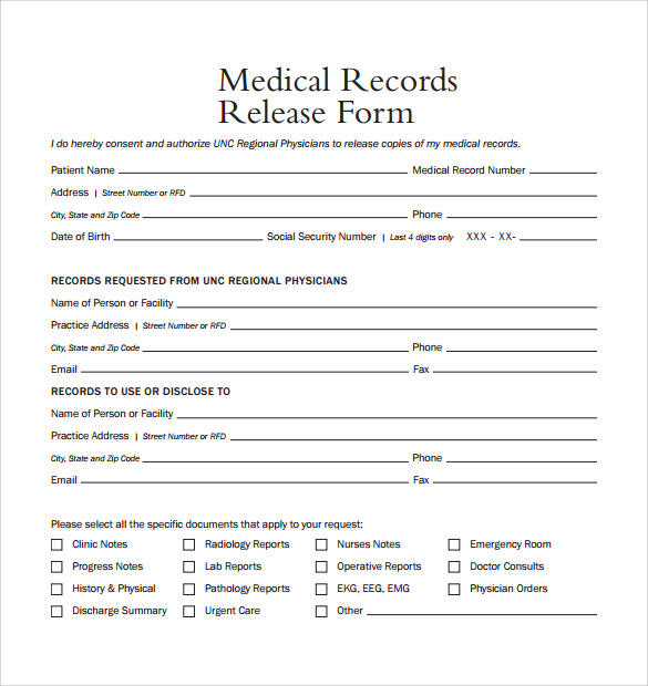 template to request medical records - medical release form template business