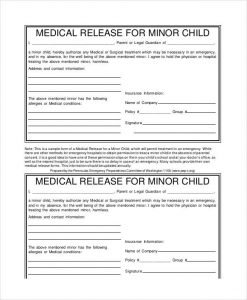 medical release form pdf minor child medical release form