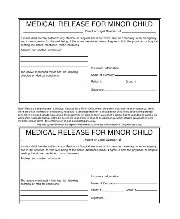 Medical Release Form Pdf  Template Business