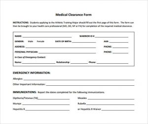 medical release form template medical clearance form