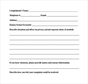 medical release forms patient complaint report form