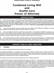medical release forms template pennsylvania combined living will and health care power of attorney form