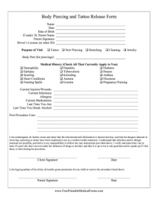medical release forms template tattoo piercing release