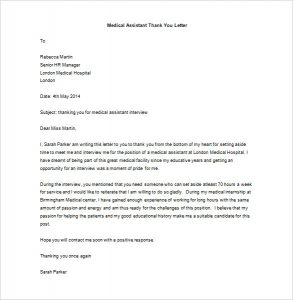 medical school interview thank you letter medical assistant thank you letter after internship