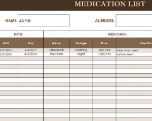 medication list template medication list template