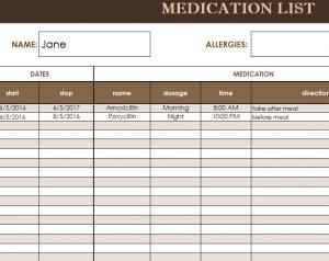 medication list template medication list template