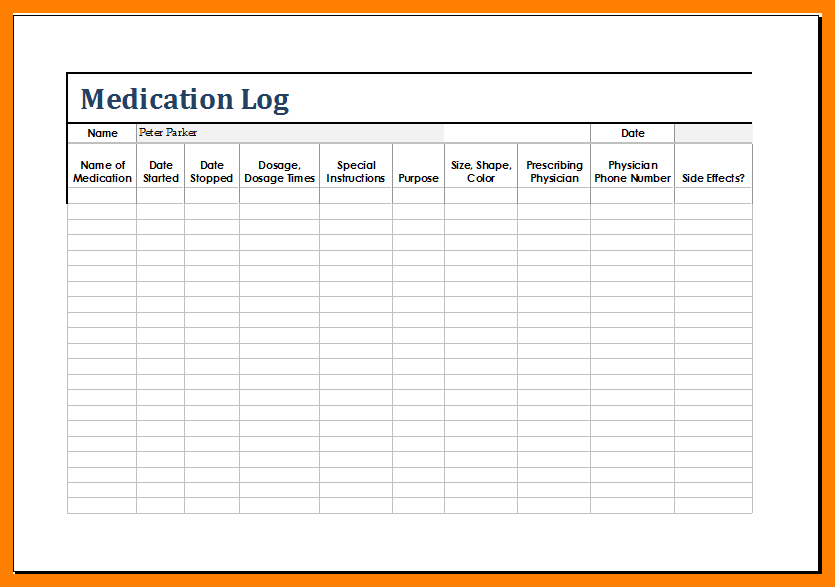 template for medication list