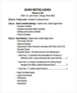 Meeting Agenda Example Template Business