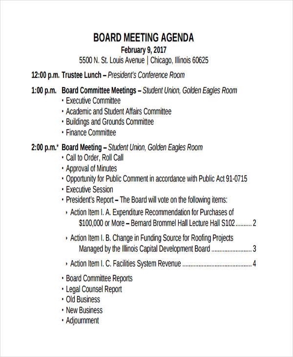 meeting agenda example