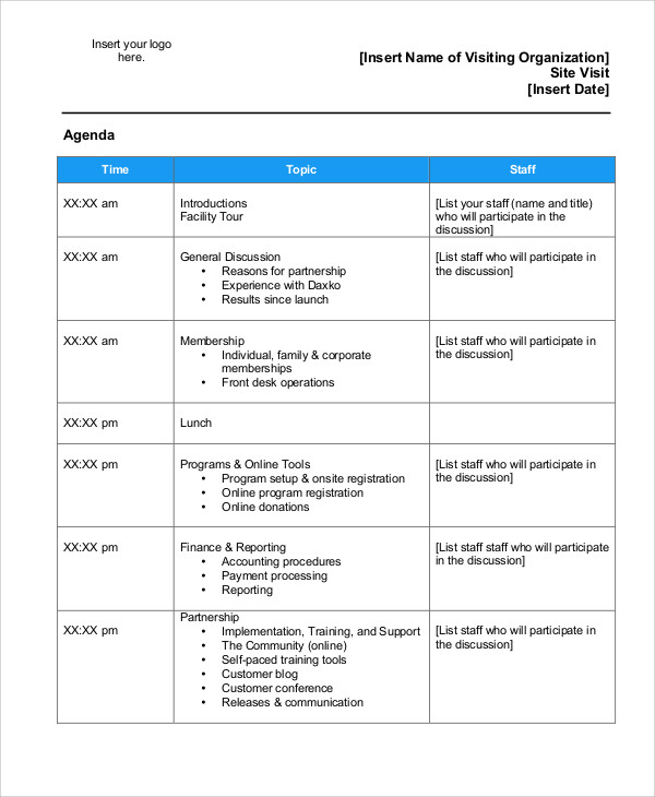 Meeting Agenda Sample  Template Business