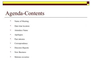 meeting agenda sample meeting procedures