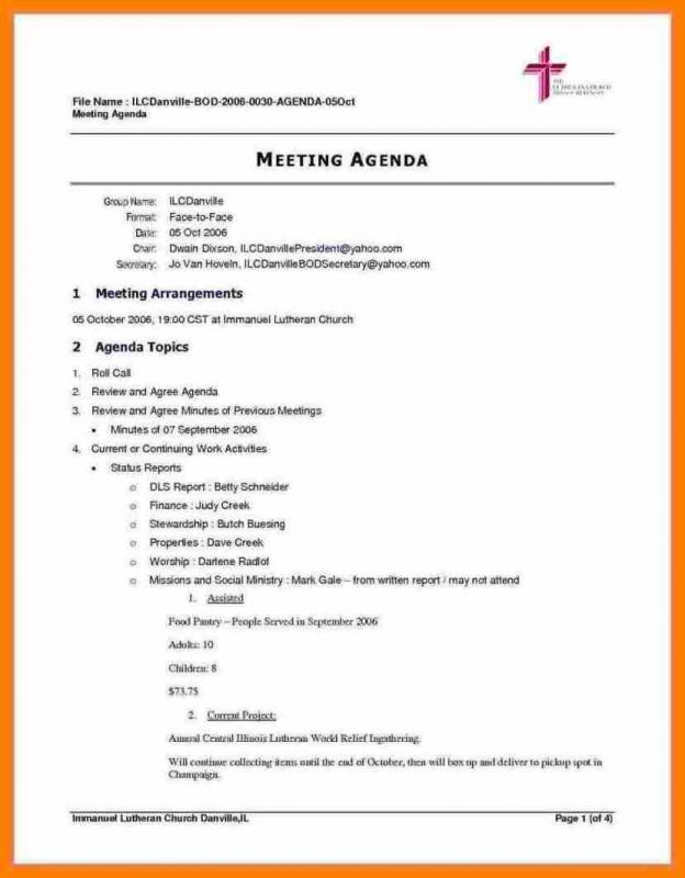 Meeting Agenda Template Doc  Template Business