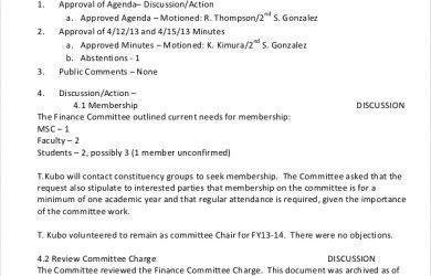 meeting agenda template doc simple finance committee meeting minutes