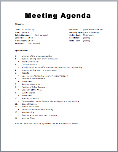 Assembly Agenda Template Word. Meeting Agenda Template Word  Business Meeting Agenda Template Word