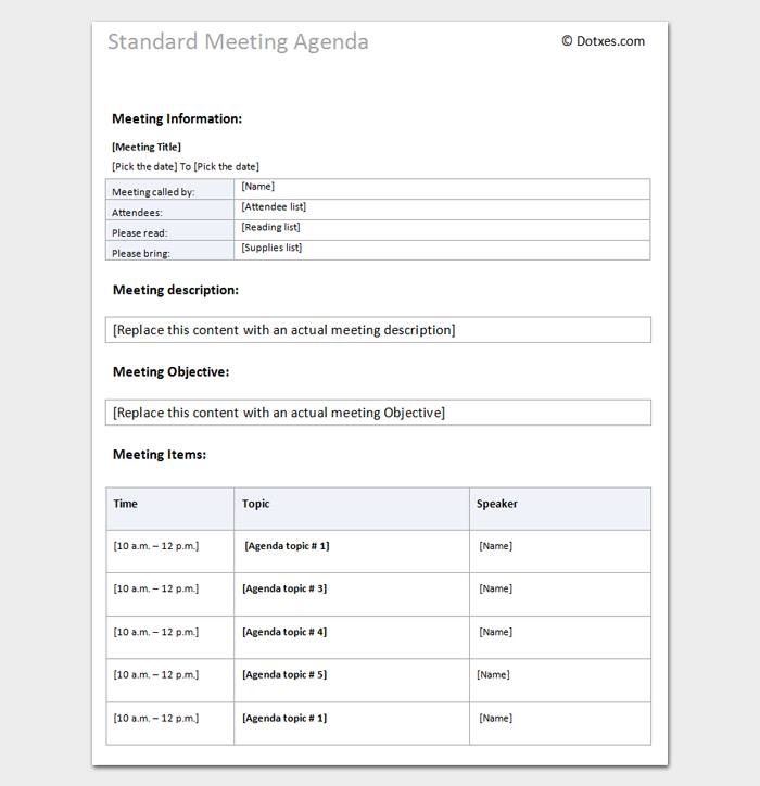Meeting Agenda Template Word  Meeting Agenda Template Doc