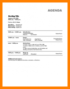 meeting agenda templates sample of agenda template