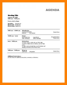 meeting agenda templates sample of agenda template
