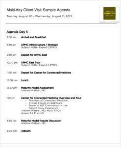 meeting agendas examples client visit agenda sample