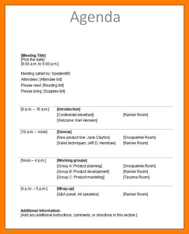 meeting agendas examples