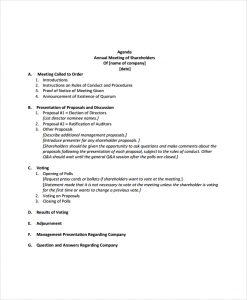 meeting invitations template annual shareholders meeting agenda template
