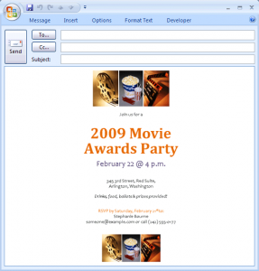 meeting invitations template e mail message movie awards party invitation