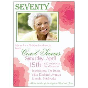 meeting invitations templates peony pink seventieth birthday invitations p z