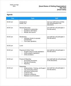 meeting invite templates corporate visit agenda