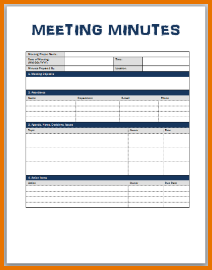 outlook meeting minutes template - meeting minute template word template business
