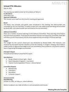 meeting minutes examples meeting minutes template