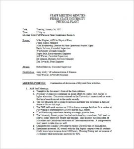 meeting minutes examples staff meeting minutes template example