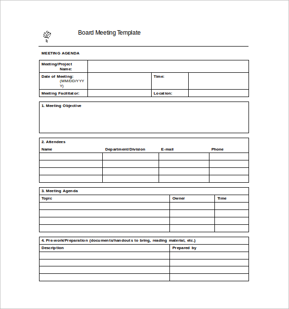 Template Idea Meeting Minutes Templates Free