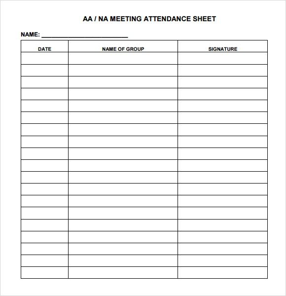 Meeting Sign In Sheet  Template Business