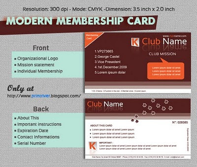 Membership Card Template  Club Membership Card Template